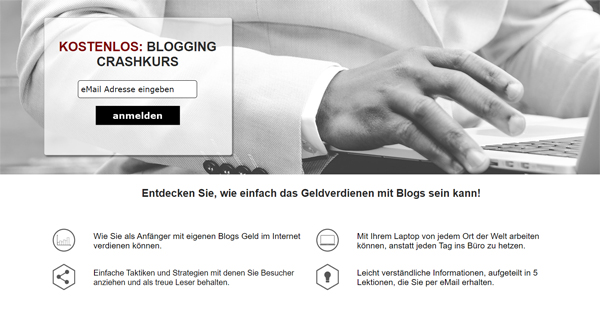 Blogging Crash-Kurs Landingpage